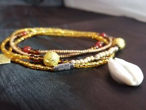 Gold and brown royal waist beads