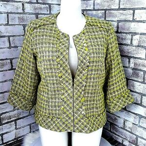 Coldwater Creek Womens Blazer Zip Up Textured Yellow Jacket Lined Size18