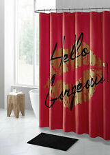 Red Black Gold Hello Gorgeous PEVA Shower Curtain Liner Odorless Eco Friendly