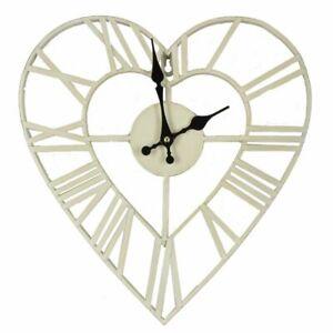 Vintage Style Metal Heart Shape Wall Skeleton Clock 35cm Shabby Chic Cream