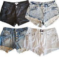UK Sizes 6 -14 Women's Washed Bleached White Black Denim Shorts Hotpants