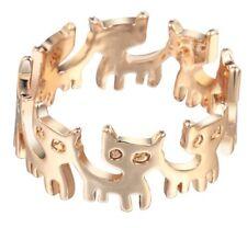 925 argento sterling placcato oro Anello di gatto/scatola regalo. regalo Pet Bambini Gioielli