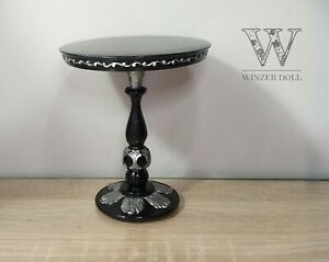 1/4 Baroque round table black, bjd doll furniture