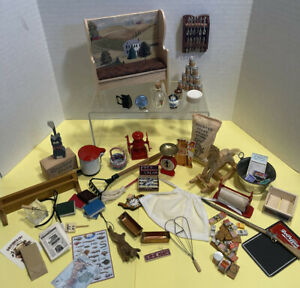 Vintage General Store Lot Handcrafted Pieces Food Etc Dollhouse Miniature 1:12