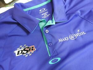 Oakley DSR NHRA Drag Racing Purple Polo Shirt Sz S Make A Wish