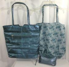 3 pc. Wilsons Leather Metalic Blue Tote Handbag