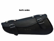 SOLO LEFT SIDED BLACK FAUX LEATHER HARLEY SPORTSTER CHOPPER SWINGARM TOOL BAG