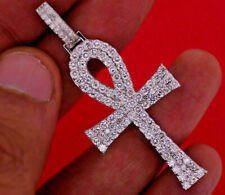 Certified 14k White Gold 3.60 Ct Diamond Cross Pendant
