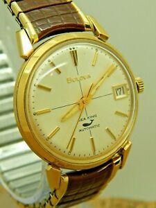 Vintage 1970 10K Rolled Gold Plate Bulova Sea King automatic wrist watch w date