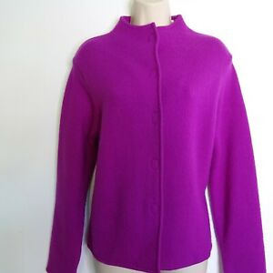 Marco Polo Cerise Pink Pure New Wool Cardigan Jacket Size 12 Stand Collar