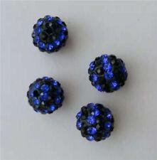 New 100pcs/200pcs Blue & Black Rhinestone Shamballa Pave Beads (Sizes 8mm 10mm)