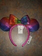 Disney Parks Minnie Mouse Ears Rainbow Awareness Sequined Headband With Bow NWT
