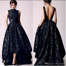 High Low Black Lace Sequined Prom Party Dresses Vintage Backless Evening Gowns