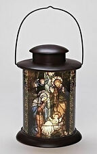 "Roman 12"" Led Holy Family Nativity Cylinder Lantern Stained Glass Style # 164092"