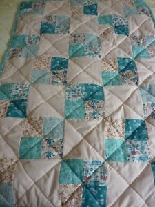 "Child quilt/throw/playmat 38""x53"" Aqua blue peach coral sea creatures"