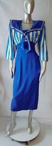 Karen Alexander 3/4 Sleeves Back Mostly Button Down Sailor Style Dress 12 Blue
