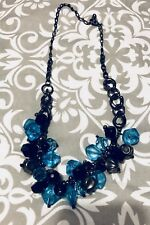 Turquoise And Black Gem Metal Chain Necklace