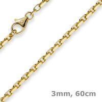 3mm Kette Collier Ankerkette aus 585 Gold Gelbgold, 60cm, Herren, Goldkette