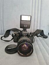 Canon AE-1  Film Camera & vivitar series 1 35 85mmm f2.8 lens, data back & flash
