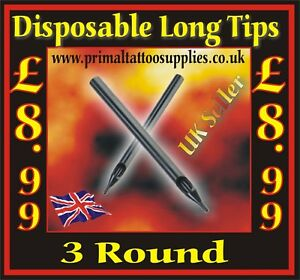 Disposable Long Tips 3 Round  -  Box of 50  - (Tattoo Needles - Tattoo Supplies)
