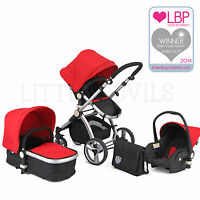 AWARD WINNING BLACK & RED CARRERA SPORT 3-in-1 Baby Travel System/Pushchair/Pram