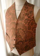Vintage Salmon & Metallic Jacquard Mens Vest 40s