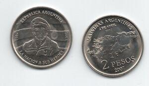 ARGENTINA 2007 2 Pesos  Malvinas Falklands War KM 144 UNC