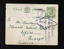 Az8K Gr. Britian Postcard 1913 to U.S. Hand Stamp T10 Ill. Central Rail Road