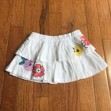 GYMBOREE Toddler Girl's Skirt size 18 - 24 white with flowers multi color light