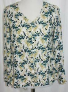 J.Jill Women's Floral Blouse Blue White Yellow Rayon Long Sleeve button up XS