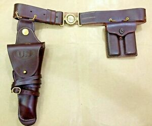 US WWII M1916 .45 Leather HOLSTER - ADJUSTABLE BELT & 2 MAG. POUCH SET - Repro