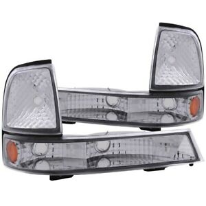 ANZO Euro Parking Lights Chrome w/ Amber Reflector for 1998-2000 Ford Ranger