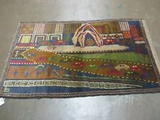 3' X 5' New Vintage Hand Made Afghan Balouch Tribal Wool Pictorial Rug # 303