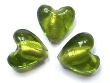 Silver Foil Glass Beads - Hearts - Peridot Green - 12mm/1mm hole - 10 beads