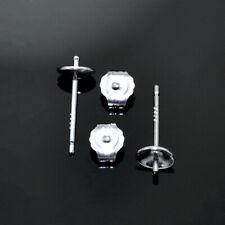 925 Sterling Silver Bowl Studs Earring Posts Findings for Making Earrings