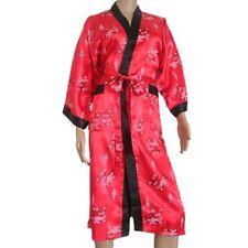 Kimono Robe Red Thai Silk Dressing Gown Bath Pajamas Night Phoenix Knee Length