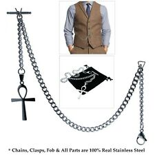 Link Chain Ankh Fob T-Bar Acs08 Albert Chain Stainless Steel Pocket Watch Curb