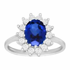 3 1/6 ct Created Blue & White Sapphire Ring in 10K White Gold