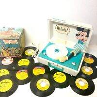 Vtg Mickey Mouse Record Player 45's General Electric W/ Records Tested Works!