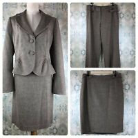 NWT Ann Taylor Brown Tweed Signature Fit 3 Piece Blazer Pant Skirt Suit 10