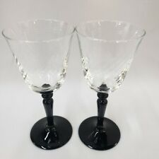 2 France Crystal Wine Glass Onyx Black Stems Gothic Swirl Optics