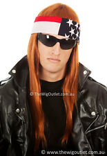 AXL Rose Long Costume Wig & Bandana Rocker 80's 90s Rock Guns N Roses Mens Axel