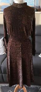 Ladies H&M Chocolate Multi Print Long Sleeve Dress- Size XS