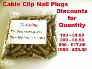 Cable Clip Nail Plugs For a Pro Fix Secure to Hard+Soft Walls 5x18mm OMQ2-03