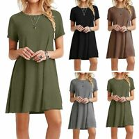 Womens Plus Size Solid Casual Loose Short Sleeve Mini Party Dress Blouse Tops