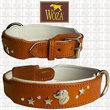 WOZA Premium Dog Collar Retriever Full Leather Padded Soft Genuine Cow Napa CR27