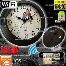 IP Camera Wireless Home Security System 16GB WIFI Room Clock 1080P No Spy Hidden