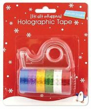 6 Holographic Multi Colour Gift Sticky Craft Xmas Tape Sello Roll Dispenser Fun