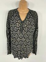 WOMENS MONSOON BLACK/BLUE PATTERNED V NECK LONG SLEEVE CASUAL SMOCK TOP UK 10