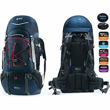 Adjustable Hiking Backpack 65L+20L for Men Women Free Rain Cover Included, Navy